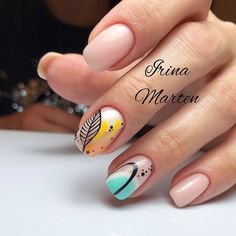 30 Cute Autumn Nail Designs You'll Want To Try Nude Nails With Abstracted Nail Art ★ Simple ideas with different colors, sparkle, and glitter involved to add that fresh seasonal style to your look. Autumn Nails, Spring Nails, Hair And Nails, My Nails, Gelish Nails, Nail Art Noel, Nail Art Sticker, Nail Stickers, Nagel Hacks