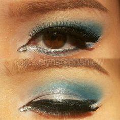Blue and shine eyelook.  Eyebrow using anastasia beverly hills pomade in auburn.  Eyeshadow base NYX in white.  Eyeliner by mizzu cosmetic.