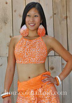 Got orange. Orange batik fisherman pants with matching halter.