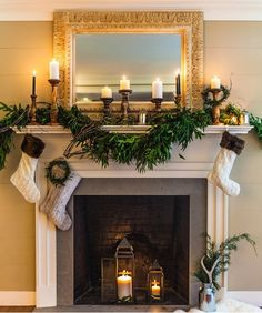 Home for the Holidays 5 Stunning Christmas Fireplaces & This icy woodland centerpiece and garland are so fabulous! Canu0027t ...