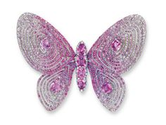 AN UNUSUAL PINK SAPPHIRE AND DIAMOND BUTTERFLY BROOCH BY WALLACE CHAN via Christie's