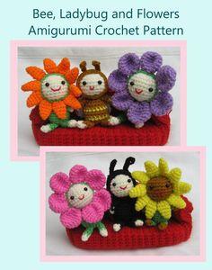 Bee, Ladybug and Flowers Crochet Pattern