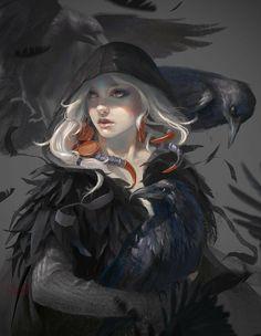 [ Gathering of Crows ] Illustration by Fariba Khamseh Dark Fantasy Art, Fantasy Girl, Fantasy Kunst, High Fantasy, Fantasy Women, Fantasy Rpg, Fantasy Artwork, Character Concept, Character Art