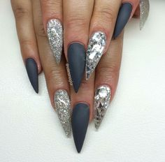 Gray matte and silver stiletto nails