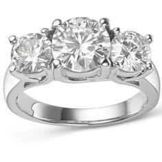 Charles & Colvard 14k 3.90 TGW Round Forever Brilliant Moissanite 3-Stone Ring