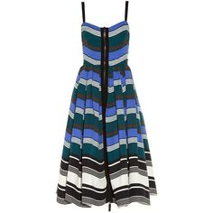Fendi Wave zip-through midi dress (€2.370) ❤ liked on Polyvore featuring dresses, blue multi, calf length dresses, blue midi dress, blue pleated dress, fit and flare midi dress and blue print dress