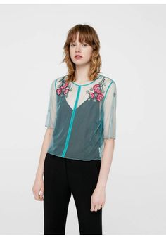 Mango. Blouse - grumpi. Fit:large. Outer fabric material:100% poly amide. Pattern:floral. Care instructions:do not tumble dry,Hand wash only. Fastening:button. Neckline:round neck. Length:normal. Sleeve length:elbow lengt...