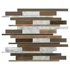 Merola Tile Fusion Linear Noir 11-7/8 in. x 12-1/8 in. x 6 mm Brushed Aluminum and Glass Mosaic Wall Tile-GITFLNOR at The Home Depot