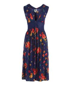 4ce248be758 Patriot Blue  amp  Red Floral Lace-Insert Sleeveless Duster - Women  amp   Juniors
