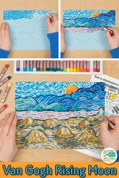 Learn art history while creating a Vincent Van Gogh-inspired Evening Landscape with Rising Moon oil pastel drawing. Fill up your art sub plan folder with no-prep, Post-Impressionism art projects that Art Lessons For Kids, Art Lessons Elementary, Art For Kids, Van Gogh For Kids, Art Education Lessons, Vincent Van Gogh, Oil Pastel Drawings, Oil Pastel Art, Art Sub Plans