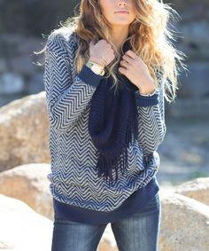 Another great find on #zulily! Blue Chevron Mohair-Blend Sweater by Bella Ella Boutique #zulilyfinds