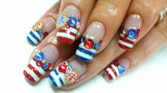How cute are these nautical nails Nautical Nail Art, Beauty, Beauty Illustration