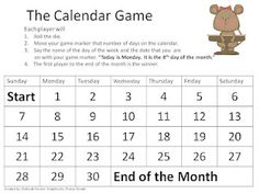 Here's a calendar game where students practice saying the name of the day of the week and ordinal number for the date. Includes math talk cards.