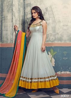 Zen Sonia Light Gray and Multicoloured Net Anarkali Suit @LooksGud.in #Anarkali, #Gray, #FloorLength