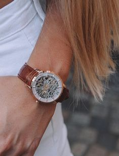 The detail of this skeleton watch! Check out our new model! Golden Watch, Julien, Mechanical Watch, New Model, Watches Online, Skeleton, Detail, Check, Accessories