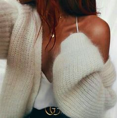 x cozy sweater + delicate necklace