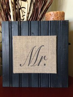 MR. - Rustic Burlap and Pine Beadboard Sign in Black by RusticChicksBoutique on Etsy