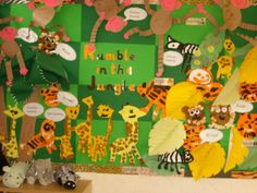 Rumble in the Jungle classroom display photo - Photo gallery - SparkleBox Jungle Activities, Jungle Crafts, Zoo Crafts, Jungle Art, Animal Crafts, Art Activities, Jungle Animals, Rainforest Activities, Nursery Activities