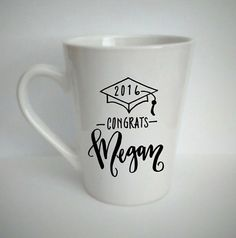 Personalized Hand Lettered Coffee Mug Graduation by LMLettering