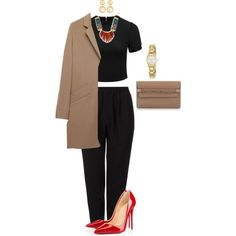 A fashion look from May 2015 featuring cut-out crop tops, a p c coat and cotton trousers. Browse and shop related looks. Polyvore Outfits, Polyvore Fashion, Larkspur & Hawk, Forever New, Valentino, Christian Louboutin, Kate Spade, Trousers, Fashion Looks