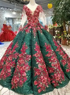 Green Ball Gown Sequins Red Appliques V-neck Long Sleeve Wedding Dress Ball Gowns Prom, Ball Gown Dresses, Evening Dresses, Prom Dresses, Dresses 2016, Formal Dresses, Elegant Dresses, Pretty Dresses, Beautiful Dresses
