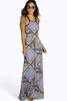 Steph Patchwork Strappy Maxi Dress at boohoo.com