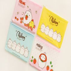 K15 Kawaii Molang Rabbit A5 Mini PVC Grid Pen Bag School Supply Stationery  Storage Phone Storage Cosmetic Case Makeup Bag Pouch