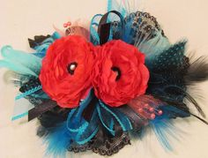 Coral & Teal Feather Corsage by justanns on Etsy, $18.00- would need to be smaller but love the idea
