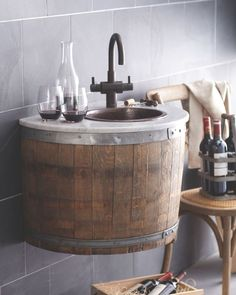American artisans Native Trails reimagine oak barrels from Californias wine country into beautiful functional bath vanities or wet bars for the home. by kbis_2016