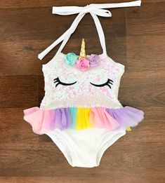 Girls Baby unicorn bathing suit with tutu Perfect for the summer! Unicorn bathing suit with halter top. The back of the bathing suit does not have sequins. Cute Lazy Outfits, Girls Summer Outfits, Kids Outfits, Unicorn Swimsuit, Baby Girl Swimsuit, Baby Girl Fashion, Kids Fashion, Baby Doll Furniture, Tutu
