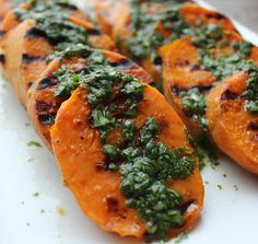 Grilled Sweet Potatoes with Cilantro-Lime Dressing by domesticate-me #Sweet_Potatoes