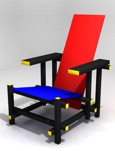 モンドリアンの絵画の影響を受けたヘリット・トマースの椅子。長時間座るのにはむいてなさそう。                                                                                                                                                                                 もっと見る