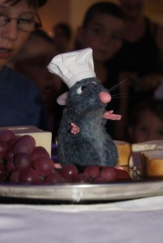 Chef Remy. At Chef De France. They Carry him up to your table on a platter. He will talk to your family. :-)