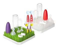Hand-washing bottles can be a pain (and I hated that my kitchen counters were overtaken by baby stuff for months), but at least Boon's Grass drying racks ($18) make the clutter cute. I have the spring green version, but the winter clear would be great in a modern kitchen.  — Kate Stahl, contributing editor