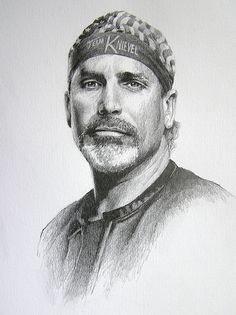 Robby Knievel by Joe Belt  Pencil drawing of American Dare-Devil Motorcycle Rider, Robbie Knievel, and yes, he is the son of the late Evil Knievel.