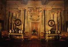 """Images from """"Roomscapes,"""" Renzo Mongiardino's book of his own (what he called) """"decorative architecture"""""""