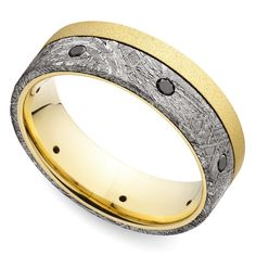 Black Diamond Men's Wedding Ring with Meteorite Inlay in Yellow Gold https://www.brilliance.com/wedding-rings/black-diamond-eternity-meteorite-mens-band-8-mm-yellow-gold