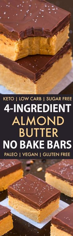 4 Ingredient No Bake Paleo Protein Bars (Vegan, Gluten Free, Sugar Free)- Easy, quick and delicious no bake bars which need just four ingredients!