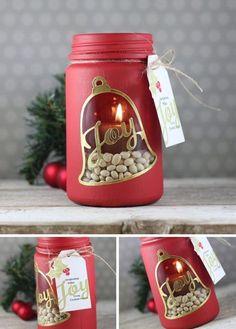 Stenciled Mason Jar Candle Holder