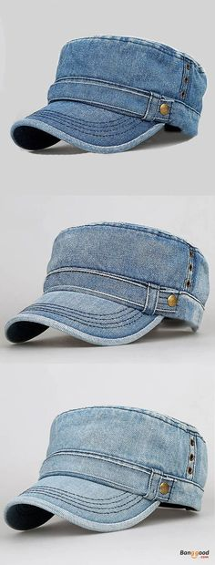70139594003 Hats · US 11.99 + Free shipping. Mens Denim Flat Top Hat Outdoor Military  Army Visor Peaked