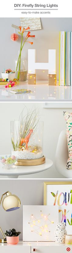 Use Oh Joy! for Target's firefly string lights as decor (they're battery powered!). 1. Personalize your space: Paint a Hand Made Modern letter white and the bottom section gold, then wrap with firefly lights. 2. Turn a candleholder into a terrarium: Paint the base gold and fill it with rocks, air plants, gold confetti pieces, an animal figurine and firefly lights. 3. Create artwork: Poke holes into a 12x12 Hand Made Modern canvas with fastners and wrap the firefly lights in a freeform…