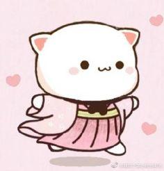 Cat Couple, Cute Love Gif, Cute Drawings, Cute Cats, Hello Kitty, Cute Animals, Sticker, Peach, Kawaii