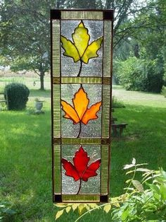 Autumn stained glass panel
