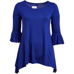 GLAM True Blue Ruffle-Sleeve Sidetail Tunic (17.900 CLP) ❤ liked on Polyvore featuring plus size women's fashion, plus size clothing, plus size tops, plus size tunics, plus size, flutter-sleeve top, ruffle sleeve top, long tops, womens plus size tunics and plus size long tunics