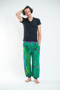Tie Dye Cotton Men Harem Pants in Green