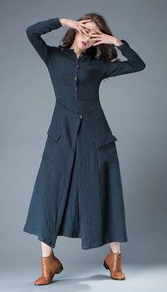 Navy Blue Linen Dress - Layered Fit & Flare Long Maxi Length Long Sleeved Casual Handmade Woman's Dress C802