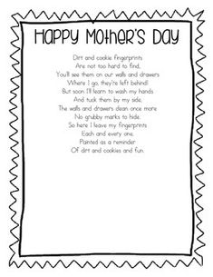 mothers day poems for kids. Mother s Day Poem  Handprint FREE A great poem to use for a card or craft For the