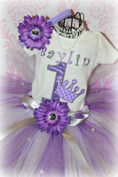 Girls Birthday PRINCESS CROWN 3 Piece Tutu Outfit by 4AngelBabies