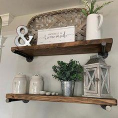 Floating shelves add a rustic but contemporary look to your home or work space. The handcrafted, solid wood shelves and sleek iron pipe supports provide sturdy storage for books, dishes, or bathroom décor in a cozy, farmhouse style. Solid Wood Shelves, Rustic Shelves, Diy Home Decor For Apartments, Floating Shelf Decor, Wet Rooms, Of Wallpaper, My Living Room, Small Living, Kitchens