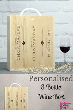 Personalised Wooden Wine Box.  This terrific wine box hold 3 bottles, making it the perfect gift for any occasion.  A Christmas Gift, a Birthday Gift, a Wedding Anniversary Gift, a Housewarming Gift - any occasion at all